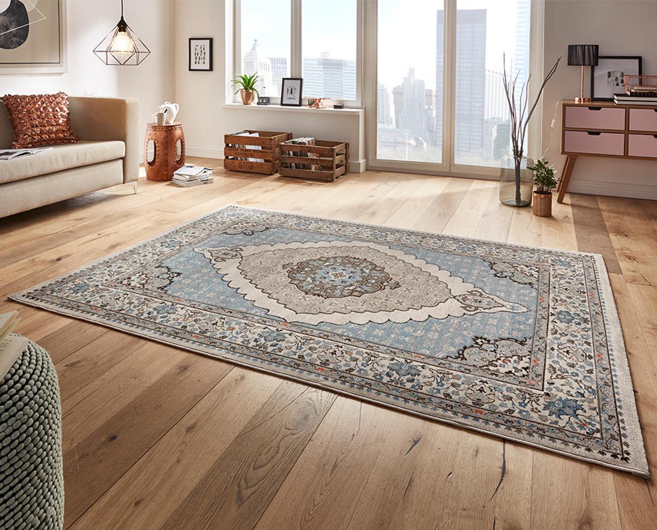 design velours teppich sign blau grau teppiche design teppiche. Black Bedroom Furniture Sets. Home Design Ideas