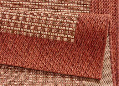 Design Teppich Flachgewebe Simple mit Bordüre Terracotta – Bild 4