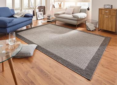 Design Teppich Flachgewebe Simple mit Bordüre Grau – Bild 1