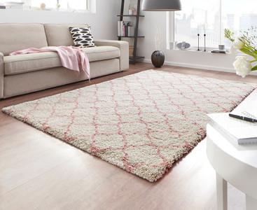 Design Velours Teppich Hochflor Luna Creme Rosa – Bild 1