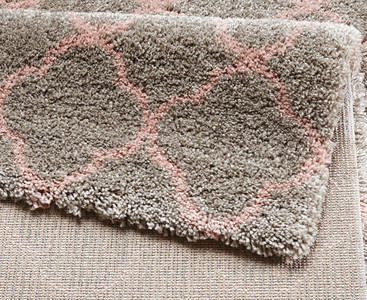 Design Velours Teppich Hochflor Luna Grau Rosa – Bild 3