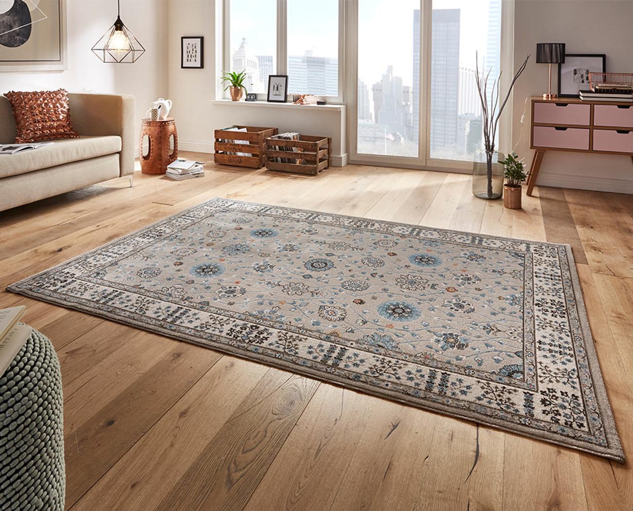 Design Velours Teppich Couture Grau Beige Blau Beganta De