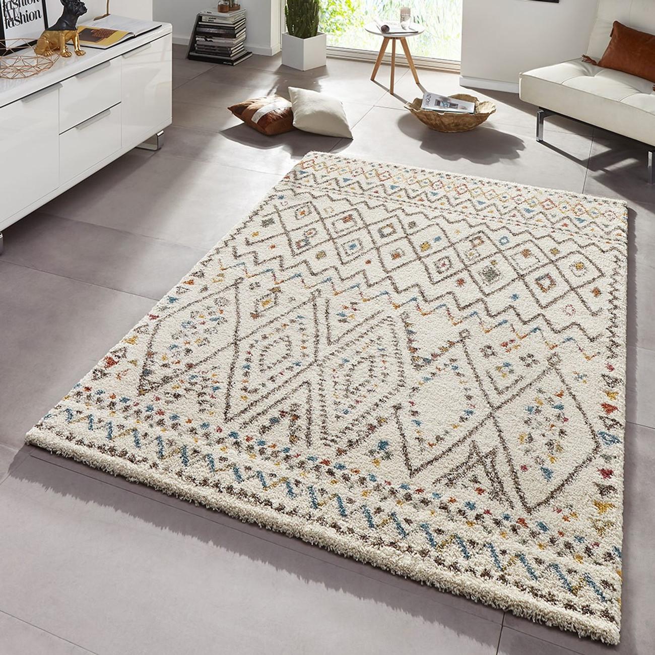 design teppich hochflor langflor inka gemustert creme bunt. Black Bedroom Furniture Sets. Home Design Ideas