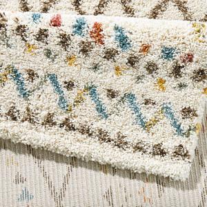Design Teppich Hochflor Langflor Inka Gemustert Creme Bunt – Bild 2