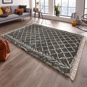 Design Teppich Hochflor Orchid Grau Creme mit Fransen