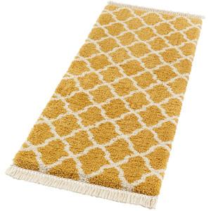 Design Teppich Hochflor Pearl Gold Creme mit Fransen – Bild 4