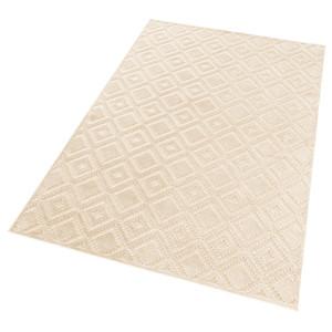 Design Viskose Teppich Iris in Relief-Optik Creme