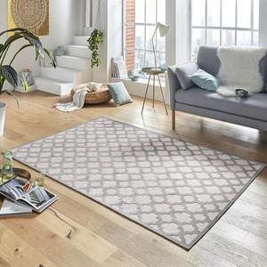 Design Viskose Teppich Bryon in Relief-Optik Grau