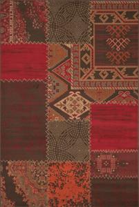 Moderner Designer Teppich USA - Los Angeles Rot mit Patchwork Optik