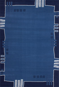 Velours Designer Teppich Funky Blau mit Bordüre Muster