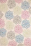 Velours Designer Teppich Funky Creme mit Blumen Muster 001