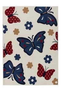Velours Design Kinder Teppich mit Schmetterlinge Blau | 3D-Hoch-Tief Effekt