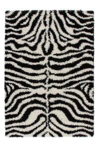 Design Hochflor Shaggy Teppich Hamburg mit Zebra Muster Schwarz/Weiß
