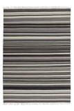 Design Teppich Kilim 791 Grau aus Wolle mit Streifen Muster | Handgefertigt 001