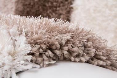 Hochflor Shaggy Teppich Kigoma Nougat Handgefertigt – Bild 3