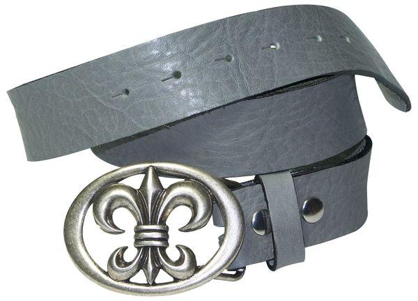 FRONHOFER Natural leather belt with a fleur de lis buckle, saddle leather