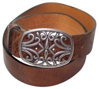 LEA: Women's belt with a floral buckle, premium natural leather 17061