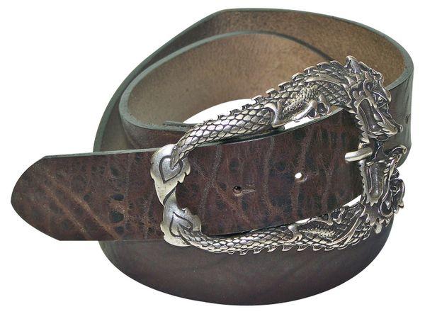 FRONHOFER belt 100% natural leather, vintage finish, dragon buckle, plus sizes available