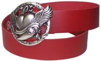 Fronhofer women's genuine leather belt with silver winged heart buckle, plus sizes