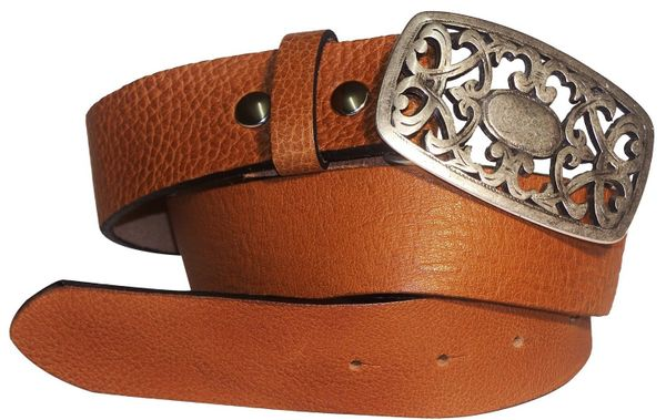 FRONHOFER Womens Belt genuine leather belt floral buckle Italian Style belt