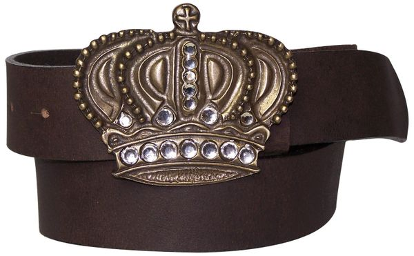 MY KINGDOM: Big crown buckle with rhinestones & leather belt