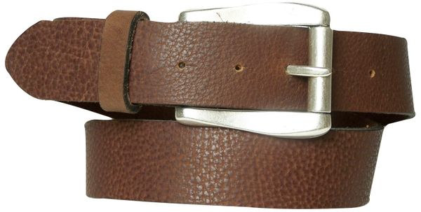 MONTEGO BAY: classical buffalo leather belt with silver roller buckle