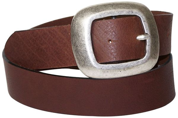 CHARLY: Impressive Silver Buckle with Genuine Buffalo Leather Belt