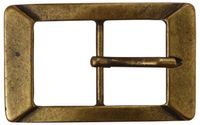 FRONHOFER Gürtelschnalle | Altmessing | Gürtelschließe rechteckige Form | zeitlose Damenschnalle | für 4cm Gürtelriemen, 17583