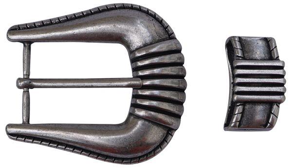 FRONHOFER | Gürtelschnalle + Schlaufe | Damenschließe | Jeansstil | altsilber | für 4cm Gürtelriemen | 17598