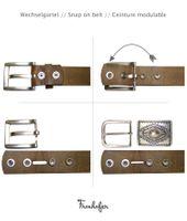 BOHEME: Ladies belt + embellished antique silver buckle, real cowhide leather