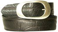 Femininer Gürtel aus echtem Rindsleder in Faltenoptik mit geschwungener Gürtelschnalle, mocca