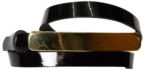FABIOLA Gold: schmaler Lackleder Gürtel mit langer schmaler goldener Gürtelschnalle