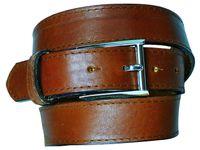 MANUEL: edler Herrengürtel mit klassischer Gürtelschnalle,silberfarbig, Ledergürtel, abgenäht