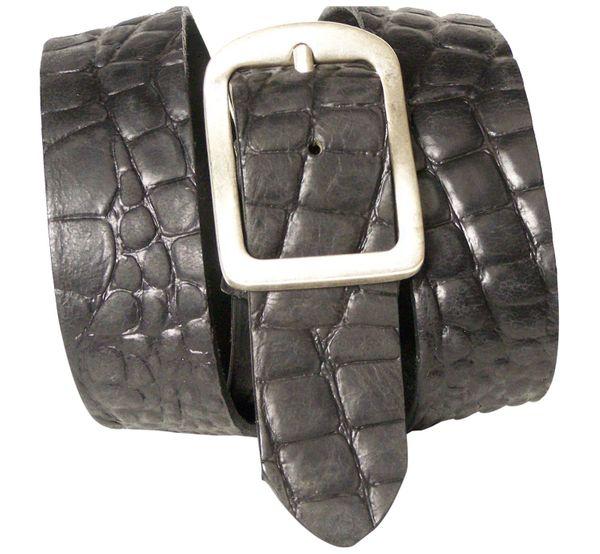 ROM 2: Krokodilleder Gürtel 4 cm mit altsilberner Gürtelschnalle