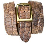 NIZZA 2: Crocodile leather belt with a brass buckle, croc-embossed belt, interchangeable