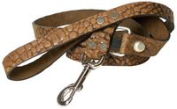 SAMMY: Croc-embossed dog leash, real leather with a vintage finish, genuine leather dog leash