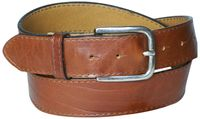 PAUL: Premium men's belt, sleek buckle in antique silver, real natural leather with topstitching