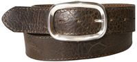 MILANO: Topstitched natural leather belt, vegetable tanned, unisex belt with silver-plated buckle