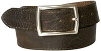 MATCH: Topstitched natural leather belt, vegetable tanned, unisex belt with silver-plated buckle
