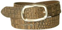 MILANO 2: Croc-embossed leather belt, silver-plated oval buckle, cowhide leather, 1.5 /4 cm, interchangeable