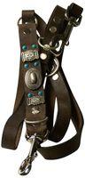 NAVAJO: Hundeleine 10cm aus echtem Leder Mexican Style mit türkisen Nieten & Conchos