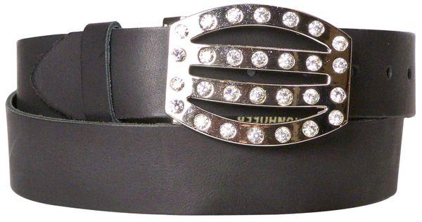 """FRONHOFER Basic men/'s belt in 100/% buffalo leather 1.5/""""//4cm matte silver buckle"""