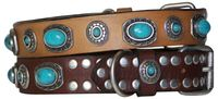 JONNY: Bold dog collar with studs & turquoise stones, robust leather collar