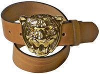 """TIGER: Women's leather belt with a bold gold-tone tiger buckle, 1.5""""/4cm"""