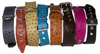 MONTE CARLO: Pointed leather dog collar, faux ostrich leather, lots of colors!