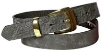 BRIT: Elegant women's leather belt with a gold buckle and gold keeper, 100% leather