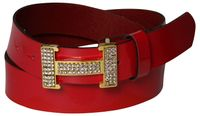 HERMINE 2: Shiny patent leather belt with a gold and rhinestone H buckle