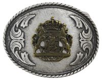 BAVARIA IV Silver Oktoberfest belt buckle, oval, Bavaria coat of arms, for 1.5 /4cm belts
