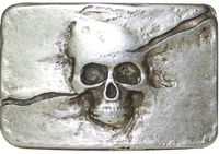 SKULL II Silver plaque buckle with skull, 1.5 /4cm scull buckle