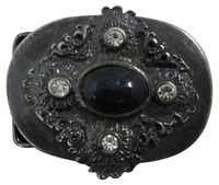 BLACK ONE Large black floral belt buckle with rhinestones, buckle for women, 1.5 /4cm